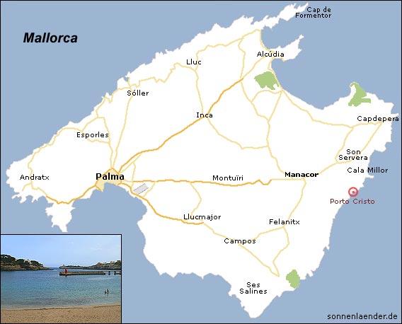 Porto Cristo Karte.Mallorca Porto Cristo Karte Kleve Landkarte